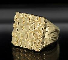 Nugget 14k Gold Plated Square Pinky Hip Hop Fashion Ring Size 5-14