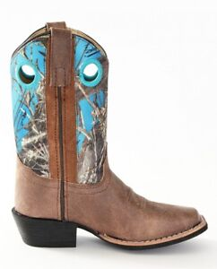 3c7acd877ce Details about Smoky Mountain Boots Youth Boys Mesa Brown / Blue Camo  Leather Square Toe