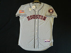 brand new c2c0e 1fbb9 Details about Authentic Houston Astros July 4th Stars & Stripes Cool Base  Gray Jersey 52