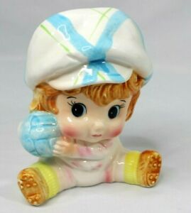 """Vintage RELPO Planter Mid Century Baby Boy with Ball 1966 - 6"""" tall X 5"""" wide"""