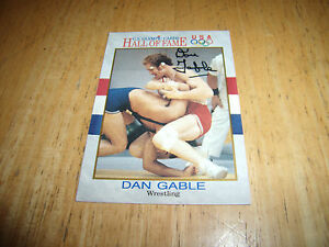 DAN GABLE AUTOGRAPH CARD 1991 U.S. OLYMPIC CARDS HALL OF FAME #32 USA WRESTLING