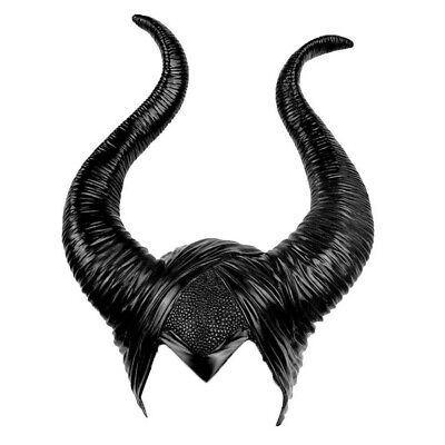 Women Latex Maleficent Horns Halloween Party Witch Cosplay Headpiece Hat