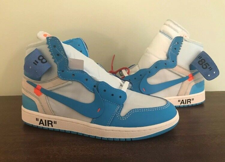 Nike Air Jordan 1 Retro High OG NRG Off White UNC The Ten Size 12 Powder Blue