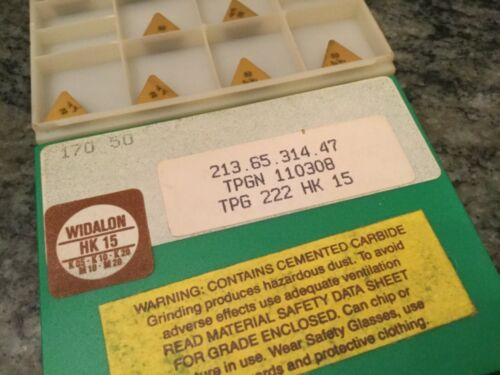 10 Widalon solid carbide machine shop triangle solid carbide inserts TPG 222 new
