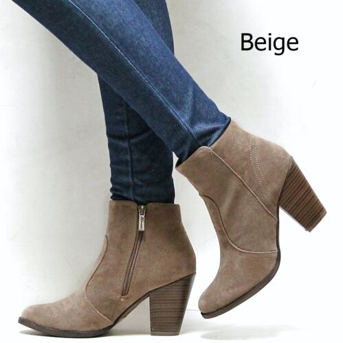New Women OHe4 Black Tan Beige Brown Western Ankle Booties Riding Boots