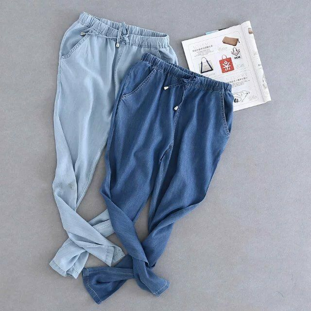Fashion Women Harem Casual Denim Trousers Pants Loose Cotton Soft Elastic Waist