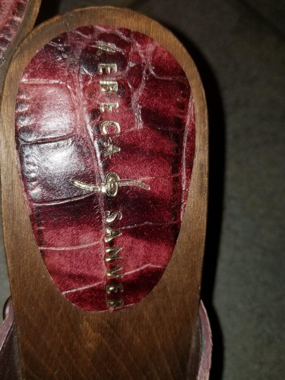 Rebeca Sanver ROT Leder croc style mule heels 37