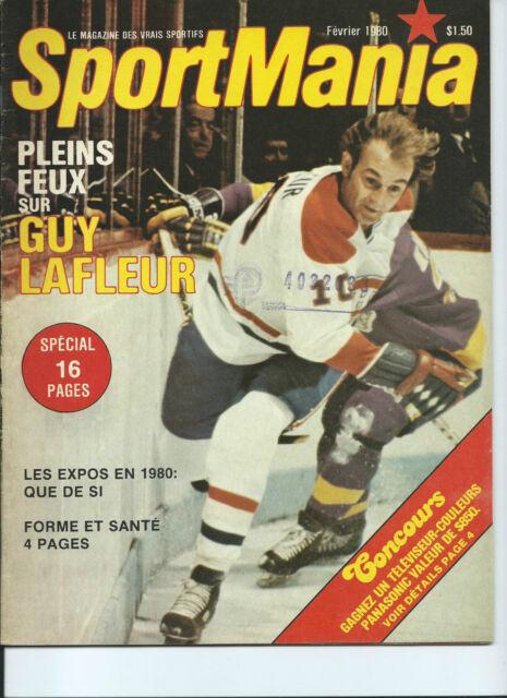 GUY LAFLEUR, LES EXPOS, LES NORDIQUES *SportMania* MAGAZINE FEV. 1980 VERY RARE
