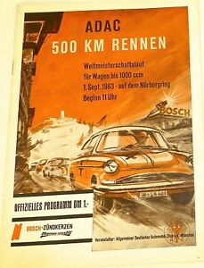 Sept 1963 Adac 500 Km Rennen Wm 1000 Ccm Nürburgring Programmheft Vi13 å * Accessoires & Fanartikel Liefern 1