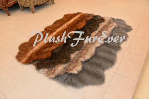 """24/"""" x 59/"""" A27 LODGE CABIN RUG Grizzly Coyote Fox Raccoon Fur Runner Area Rug"""