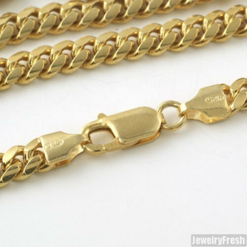 Details about  /5mm 14k Gold Dipped 925 Silver Miami Cuban Chain Mens