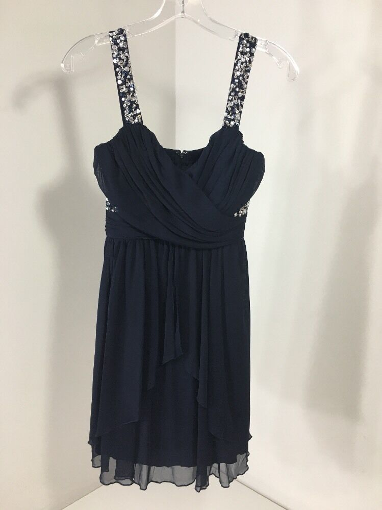 SPEECHLESS WOMEN'S GLEAMING OF YOU EMBELLISHED PARTY DRESS NAVY SZ 5 NWT