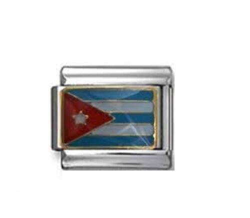 fits 9mm classic Italian Charm bracelets Cuba enamel flag Italian charm