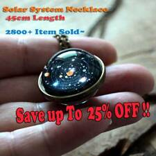 Unique Jewelry Solar System Necklace Double Sided Planet  Pendant Long Chain