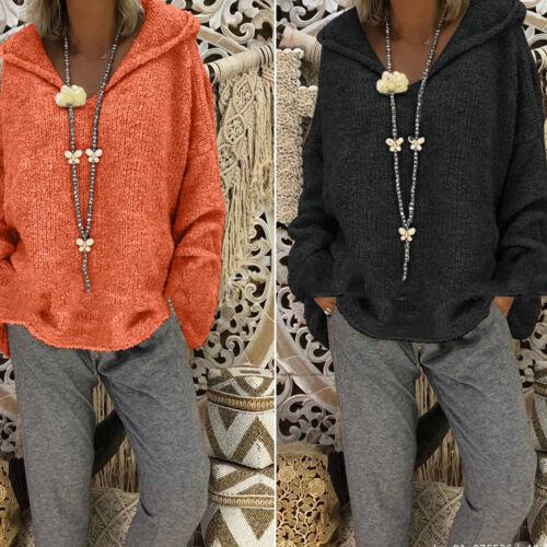 Women Ladies Loose Hooded Long Sleeves Sweater Knitted Warm Sweatshirts Clothing