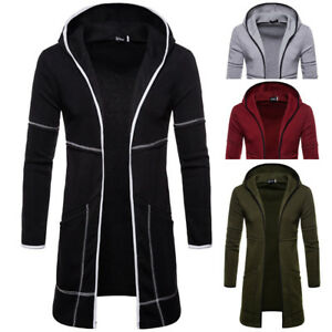 Men-Slim-Fit-Hooded-Trench-Coat-Jacket-Cardigan-Top-Long-Sleeve-Outwear-Overcoat