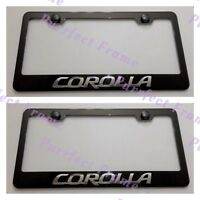 2x Corolla 3d Emblem Toyota Stainless Steel Black License Plate Frame W/cap