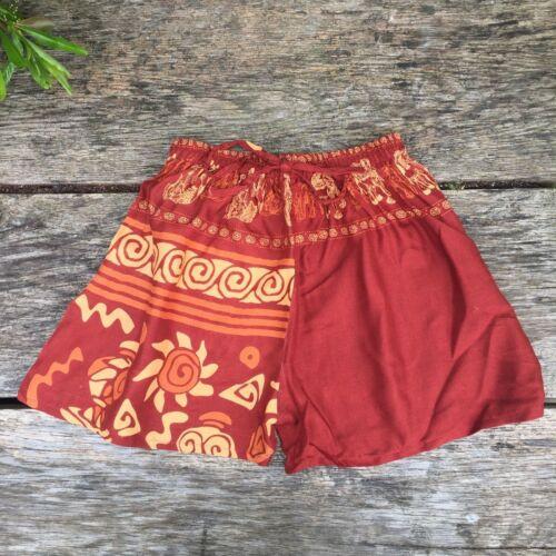 Women/'s elephant print festival shorts beach ethnic boho bohemian hippy hippie S
