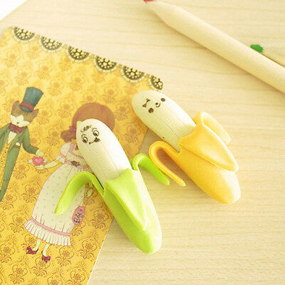 1Pcs Funny Cute Banana Pencil Eraser Rubber Novelty Toy For Children Kids School