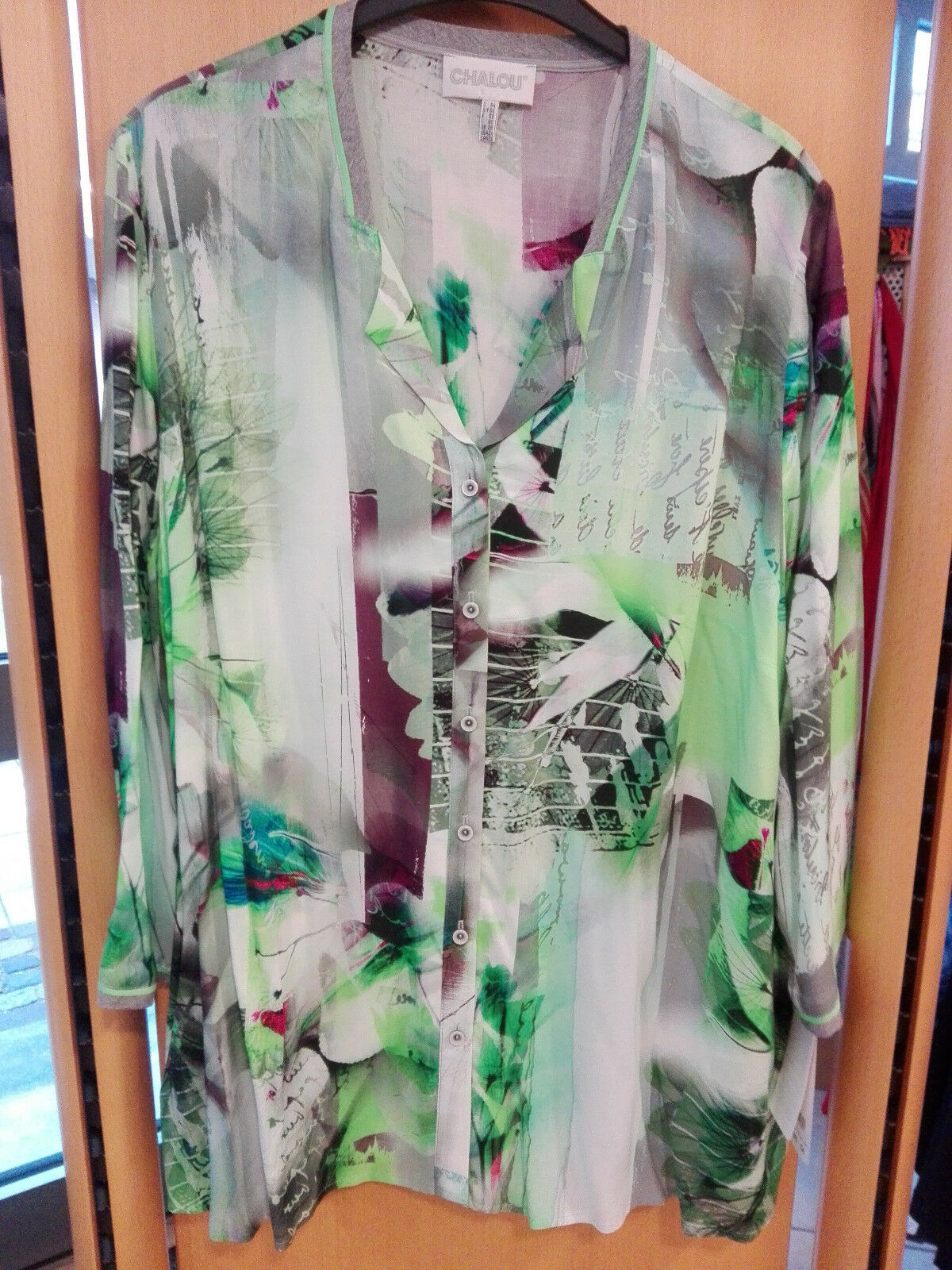 Chalou Damen Blause extravagant lg Arm grün grau Gr. 54 große Größen