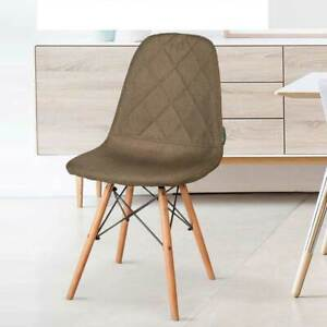 Dettagli su Set 4 sedie Moderne Sala Da Pranzo Cucina Salotto Tessuto  Marrone Piedi In Legno
