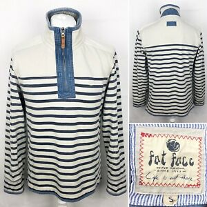 FAT-FACE-Sweatshirt-Size-Small-Zip-Neck-Mens-Pullover-Striped-Top-Long-Sleeve