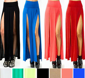 SEXY TRENDS HIGH WAISTED DOUBLE SLITS OPEN RAYON KNIT LONG MAXI ...
