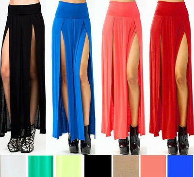 VIVICASTLE SEXY HIGH WAISTED DOUBLE SLITS OPEN KNIT LONG MAXI SKIRT S M L XL