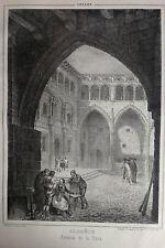 ALCAÑIZ, plaza. Litografía original de Parcerisa 1839-1865