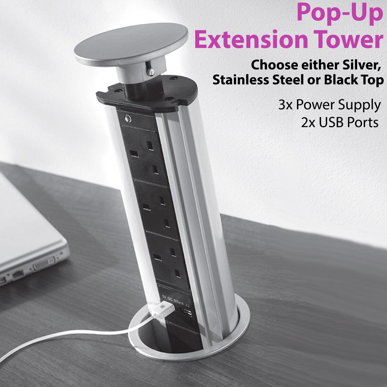 ordina ora goditi un grande sconto 3 Vie   Transizione Pop-Up Pop-Up Pop-Up Prolunghe Torre – 2x USB Porte – Modern Nascosta  acquistare ora