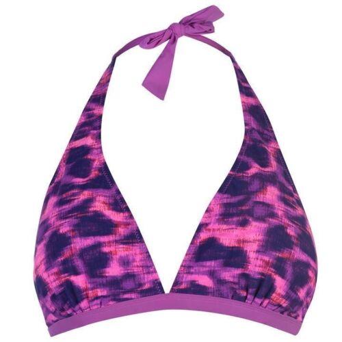 Ladies Branded Slazenger Stretch Halter Neck Bikini Top Briefs Swimwear 8-16