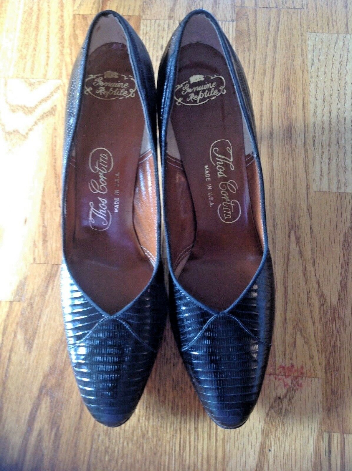 8AAA Thom. Cort Upscale Black Lizard Pumps 3  Heels NEW 92