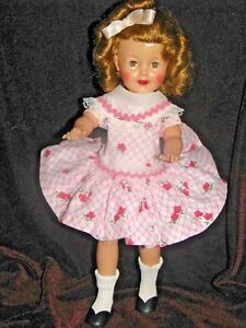 FREE-SHIP-SHIRLEY-TEMPLE-12-034-DOLL-ORIGINAL-1950-039-S-IDEAL-IN-PINK-ROSES-DRESS