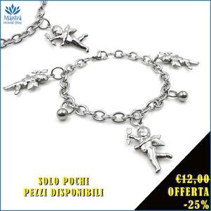Bracciale-da-donna-braccialetto-con-angelo-cherubini-catena-maglia-in-acciaio