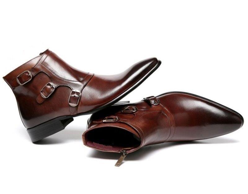 botas de monje, botas de tobillo marrón, botas de hombre