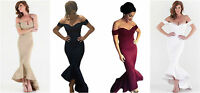 Ladies Sexy Off Shoulder Navy Mermaid Peplum Fishtail Midi Dress Size 8 10 12 14