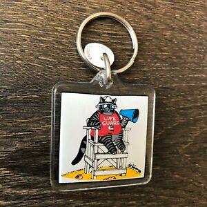 Kliban Cat Key Chain Acrylic Lifeguard Vintage