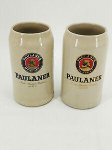 2-Bierkruege-Bierkrug-Bierseidel-Sammlkruege-Aufdruck-Paulaner-Muenchen-1-Liter