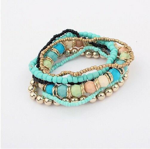Pack 7PCS Mulitilayer Mixed Colors stretch Beaded Bohemian Lady Bracelet Bangle