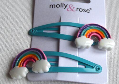 NEW 5cm Turquoise blue rainbow motif sleepies hair clips girls fashion