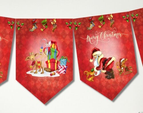 Père Noël /& Rudolph Rouge Bunting//Bannière /& Ruban
