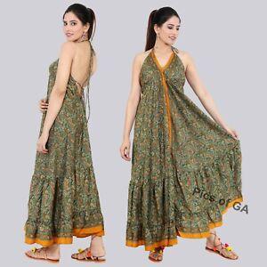 Indian-Up-cycle-Bohemian-Floral-Printed-Magic-Maxi-dress-Holiday-Evening-dress