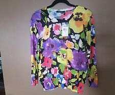 NWT=RALPH LAUREN multi-colored floral, knit top XLarge $135