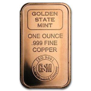 1-oz-999-Kupferbarren-Copper-Bar-Golden-State-Mint-NEU-Top-Zustand-Selten