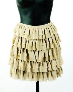 Michael-Kors-Khaki-Silk-Tiered-Ruffle-Raw-Edge-A-Line-Mini-Skirt-Size-2-NWT