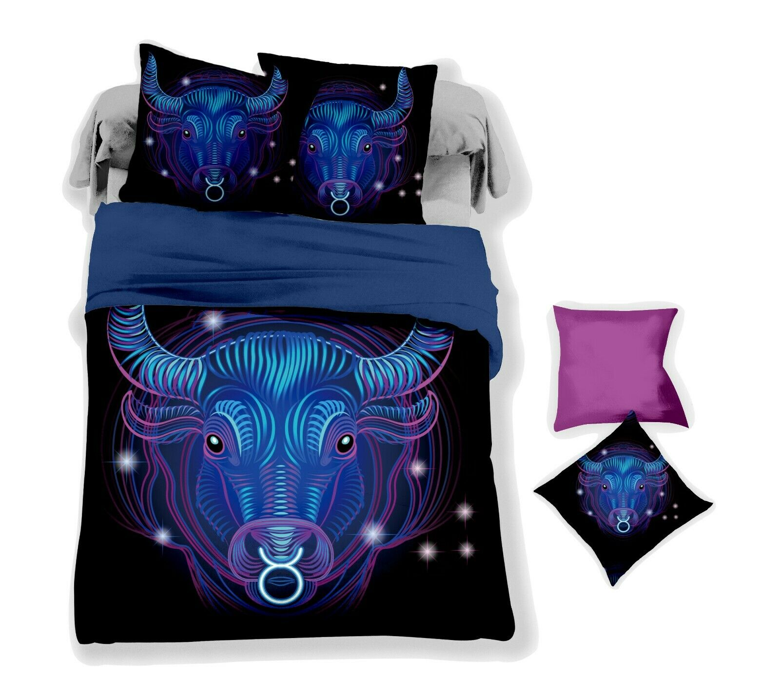 3D Simple Dark Taurus Quilt Cover Set Bedding Duvet Cover Single Queen King 6