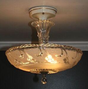 Antique 14 beige tan glass art deco light fixture ceiling image is loading antique 14 034 beige tan glass art deco aloadofball Gallery