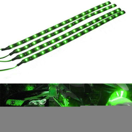 New 5 Pcs 30cm 15 LED 12V Vehicle Waterproof Flexible Strip Lamp GREEN Light WT