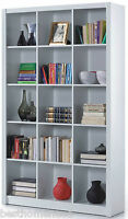 White Gloss Bookcase Shelf Triple Room Divider Shelves Display Office Furniture