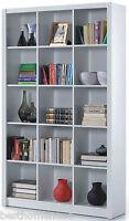 White Gloss Bookcase Shelf Triple Room Divider Shelves Display Office Furniture